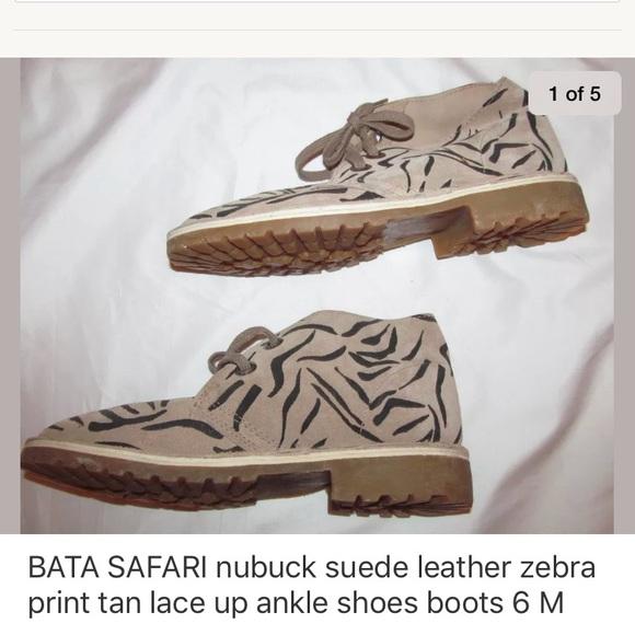 05166f03ba9e BATA SAFARI zebra nubuck suede lace up boots 6 NEW NWT